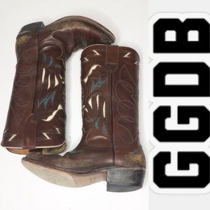 Golden Goose Brown Distressed Leather Cowboy Boots